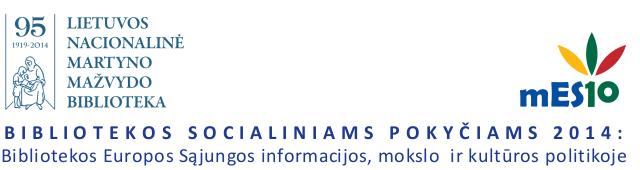 Lietuvos nacionalinė Martyno Mažvydo biblioteka – Bibliotekos socialiniams pokyčiams 2014